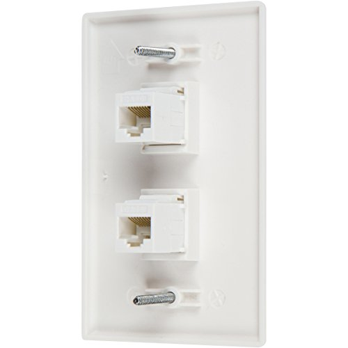 Buyer's Point 2 Port Cat6 Wall Plate, Female-Female White with Single Gang Low Voltage Mounting Bracket Device (2 Port)