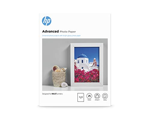 HP Advanced Glossy Photo Paper, Q8696A, 25 hojas de papel fotográfico satinado avanzado, compatible con impresoras de...