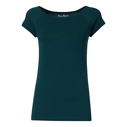 FellHerz Damen T-Shirt Petrol, Bio & Fair aus 100% Bio-Baumwolle und unter fairen Bedingungen hergestellt, nachhaltig, vegan, ökologisch, alternativ (M)