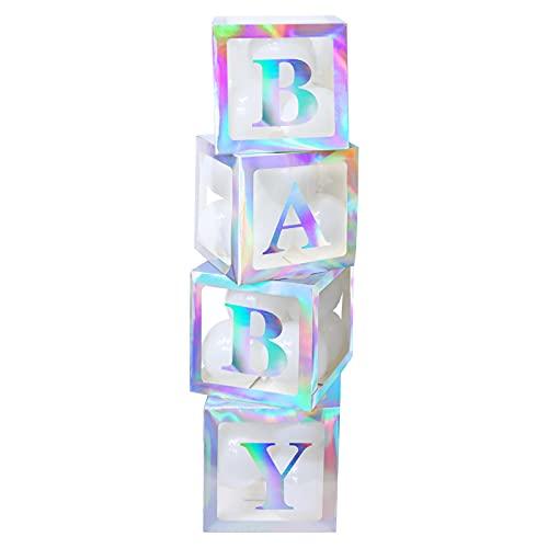 4 cajas de decoración para fiestas de baby shower, cajas de globos transparentes blancas con 30 globos y 8 letras para decoraciones navideñas de fiesta de cumpleaños de baby shower colorful