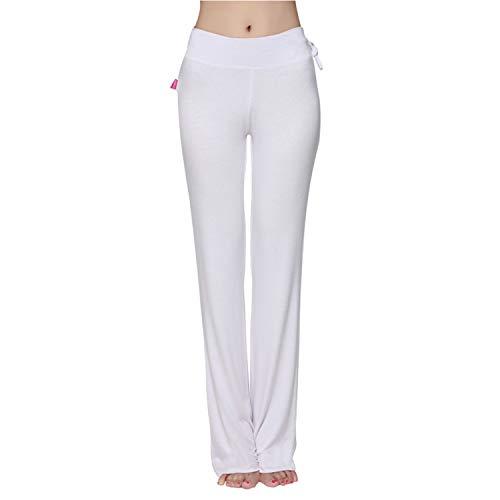 Meshikaier - Pantalones de yoga para mujer, muy suaves, elásticos y elásticos blanco XL