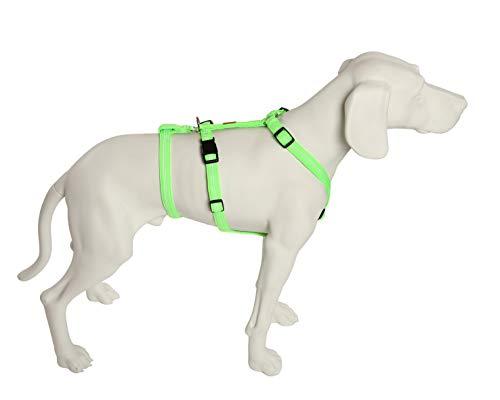 Feltmann No Exit ausbruchsicheres Hundegeschirr für Angsthund, Sicherheitsgeschirr für Pflegehunde, Panikgeschirr, Super Soft, neongrün, Bauchumfang 50-65 cm, 20 mm Bandbreite