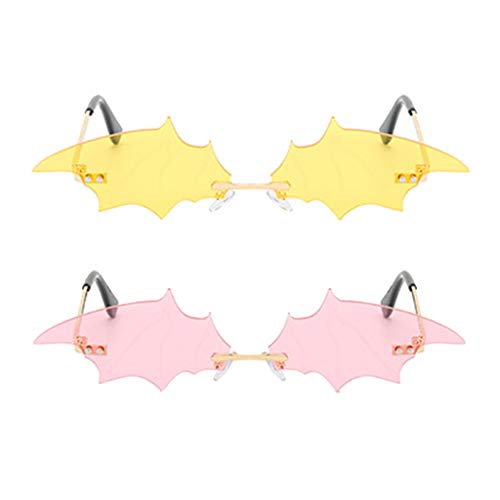 joyMerit 2 Piezas de Gafas de Sol Elegantes con Forma de Murciélago para Mujer, Gafas de Sol de Club de Diseño de Moda - Rosa + Amarillo