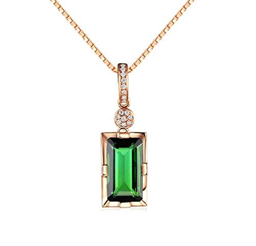 CHENLING Collar de oro rosa de 14 quilates con colgante de jade esmeralda natural para mujer, peridoto, bizuteria, piedra preciosa jade joyería colgante