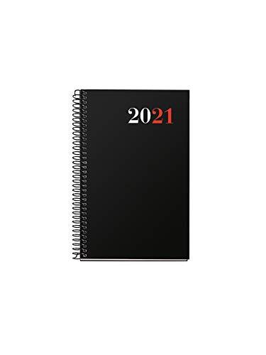 MIQUELRIUS City - Agenda 2021, Semana Vista, Papel 70g, Cubierta Polipropileno Opaco, color Negro, Tamaño 117 x 182 mm - Español