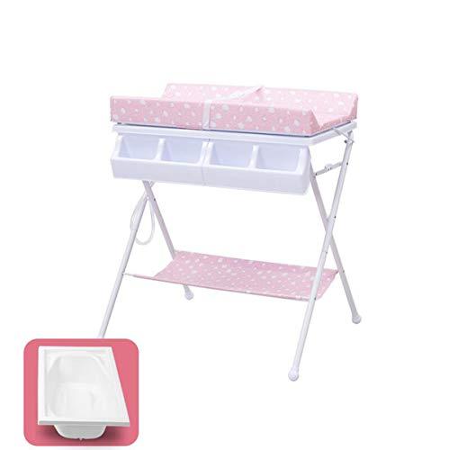 Wickeltisch, faltbarer tragbarer Neugeborener Babypflege-Tisch, Multifunktionsmassagebad mit Wanne (sicher und stabil, faltbar tragbar, verstärkter Stahl)