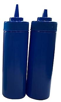 Blue BPA Free Food Prep 12 oz Plastic Condiment Squeeze Bottle for Hot Sauces Condiments Dressings  2