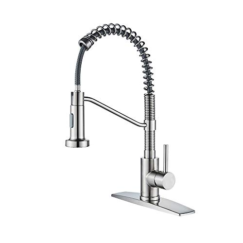 FORIOUS Kitchen Faucet with Pull Down Sprayer, Commercial Single Handle Kitchen Sink Faucet with Deck Plated, Brushed Nickel