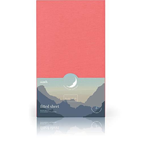 Laleni Spannbettlaken für Babybett Kinderbett - Atmungsaktives Spannbetttuch, 100% Baumwolle, 70x140 cm, Coral