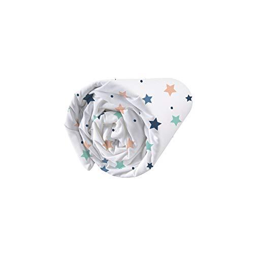 MATT & ROSE Drap Housse, Coton, Blanc/Bleu, 90X190 Cm