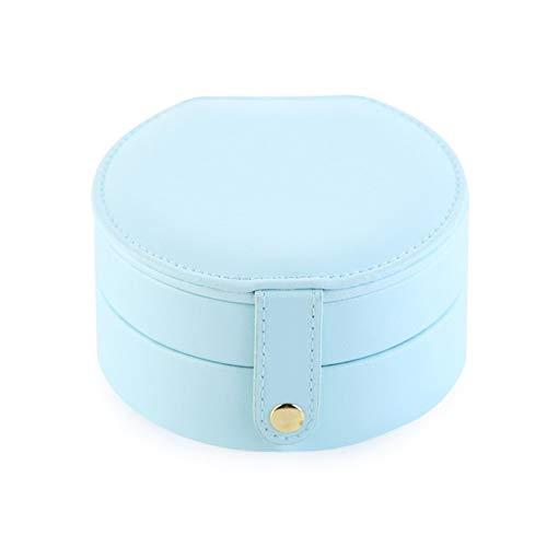 Organizador de maquillaje nuevo europeo coreano simple pequeño mini pendientes pendientes mano joyería caja de almacenamiento portátil de cuero princesa joyería caja (color: azul)