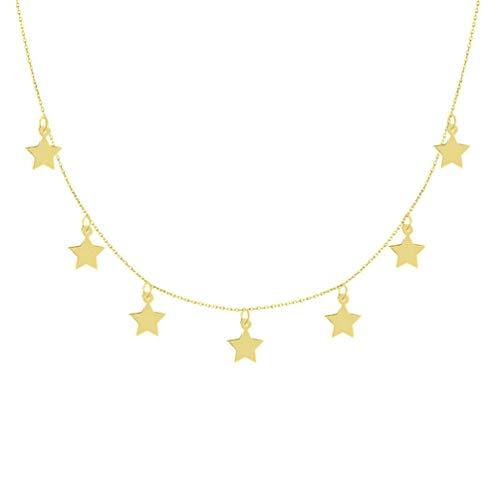 J.LUIS Gargantilla Oro 18K Amarillo Longitud 40 Y 45 CM 7 COLGANTITOS Estrellas 8 MM