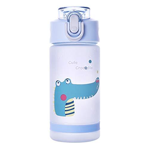 Botella de agua con pajita para niños y niñas, para deportes, 500 ml, libre de Bpa, botella de plástico, ideal para mantenerse hidratado K8849