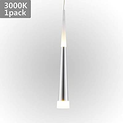 Harchee Modern LED Pendant Light with Acrylic Shade, Adjustable Cone Mini Pendant Lighting