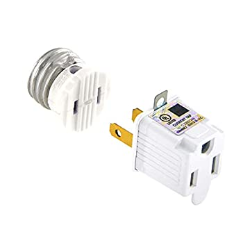 UL Listed E26/E27 Light Polarized Socket Outlet 110V Grounding Plug Converter Fireproof Material Heavy Duty 660W or 6A Receptacle in Screw Adapter w 2 Prong to 3 Prong Adapter