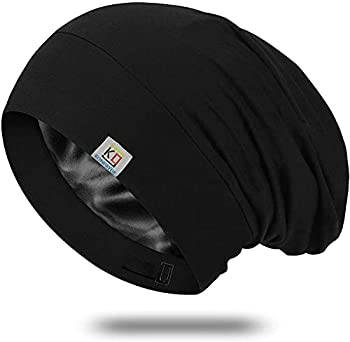 Silk Bonnet Sleep Cap-Satin Sleeping Cap for Women and Men,Soft and Comfortable of Silk Night Cap,Large Beanie Hat & Adjustable of Shower Cap Hair Cover Bonnets Used for Natural Curly Hair Protection
