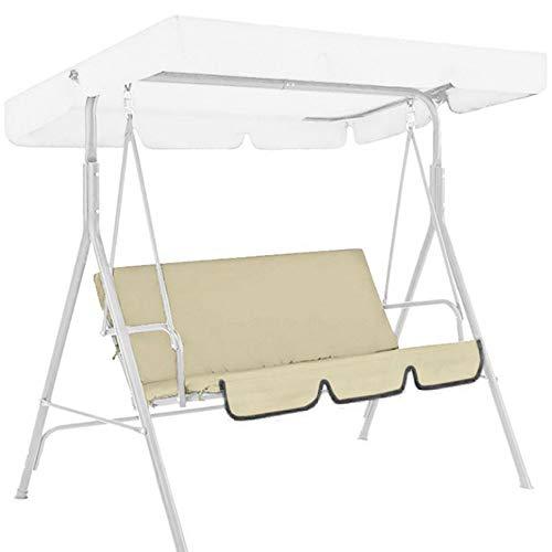 Maalr Funda de asiento para columpio, funda para cojín para hamaca columpio de exterior de 3 plazas para hamaca - Impermeable y antipolvo - 150 x 150 x 10 cm - Solo funda de asiento (beige)
