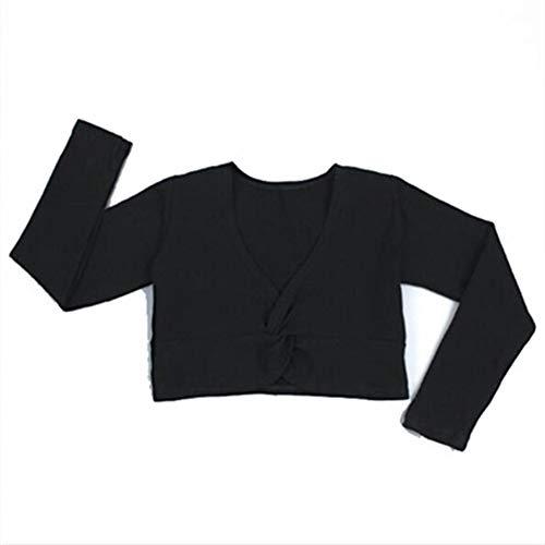 Augus Jacob Jupe de Ballet Fille Ballet Gymnastic Leotard Veste Manches Longues Danse Sweater Top Coat Dance Kids Vêtements Veste Ballet Wrap (Color : Black, Size : 2XL for 155 160cm)