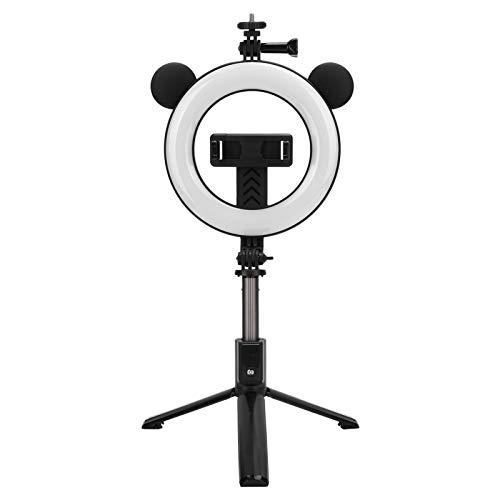 6'Selfie LED Ring Light Bluetooth Selfie Stick con trípode, Control Remoto Anillo de luz de Maquillaje para fotografía, Disparo con 3 Modos de luz 48 Piezas de Cuentas de lámpara