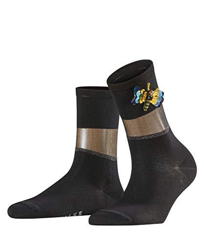FALKE Damen Socken Shiny Powder, Baumwollmischung, 1 Paar, Schwarz (Black 3000), Größe: 39-42