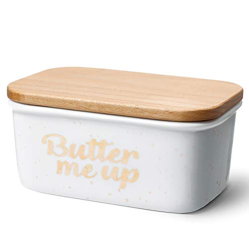 Sweese 3177 Large Butter Dish - Porcelain Keeper with Beech Wooden Lid, Perfect for 2 Sticks of Butter, Butter Me Up