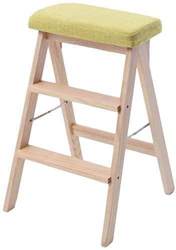 Klappbarer Trittleiter- Multi-Layer-Hocker Stehleiter, Leitern Hocker Schritt Hocker Küche Holzleiter Haushalt DREI-Stufen-Klappleiter Mehrzweck Dual-Use-Klettern Treppen Hocker (Color : Green)