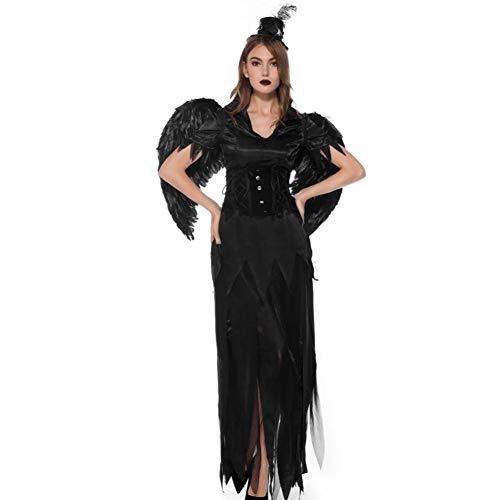 GBYAY Adulto Negro Bruja ángel Vestido Ropa Mujer Ropa niños Diablo Halloween Disfraz Cosplay Disfraz Vampir