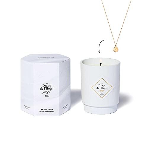 MY JOLIE CANDLE   Vela Perfumada Algodón Blanco (Las Sábanas del Hotel) con joya en su interior   Collar Dorado   50h de combustión   Cera vegetal 100% natural   250g