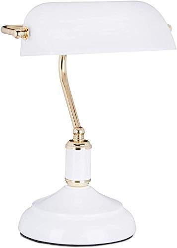 Lámpara Banker Pantalla Metal Retro Flexo Cristal 36 x 26 x 21 cm 1 Unidad Blanco & Plata E27 40 W-Blanco & Dorado