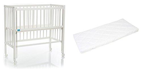 Fillikid Beistellbett Cocon Grib 90x40cm | Matratze CLASSIC | Kinderbett mit 3 fach höhenverstellbarer Liegefläche | Zustellbett | Stillbett Buchenholz, Design:Cocon weiß, Größe:Set mit Matratze