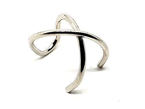 Eclectische winkel Uk nep lip oor orbitale manchet dubbele ring piercing staal Criss kruis zilveren sieraden
