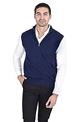 State Fusio Men's Quarter Zip Up Mock Neck Sweater Vest Cashmere Merino Wool Lightweight Sleeveless Pullover (Large, Navy) from State Fusio