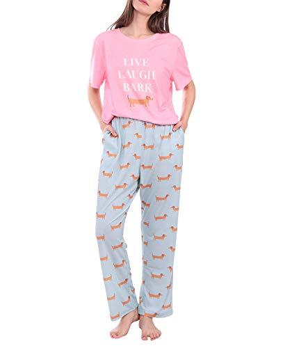 Diarylook Niedlicher Damen-Pyjama-Set, bedruckt, zweiteiliger Schlafanzug für Frauen, Nachtwäsche, weiches Pyjama-Set, Nachtwäsche, XS-XXL Gr. 38, hund