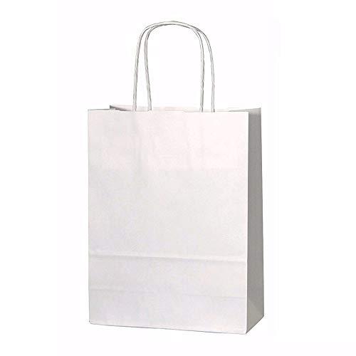Papiertüten mit Kordelhenkel, aus Kraftpapier, als Geschenktüten, in verschiedenen Ausführungen, 20 Stück, Kraft-Papier, weiß, XS