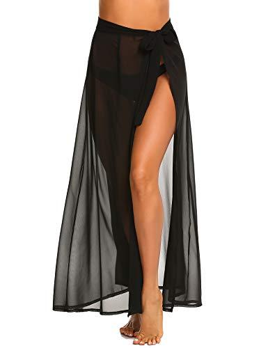 MAXMODA Women's Swimsuit Cover Up Beach Sarong Wrap Maxi Skirt(Black,Medium)