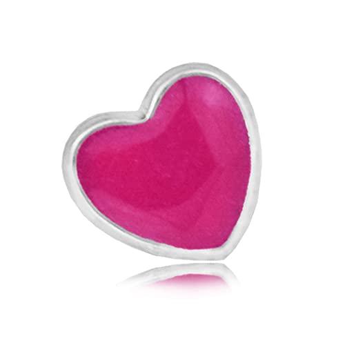 LIIHVYI Pandora Charms para Mujeres Cuentas Plata De Ley 925 Medallón Flotante Pequeño con Corazón De Esmalte Rojo Compatible con Pulseras Europeos Collars