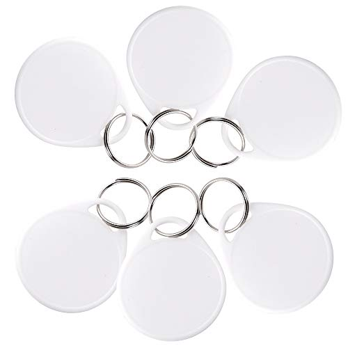 InterUS 55 Pack Round Key Tags with Split Ring, 110 Pcs White Label Stickers
