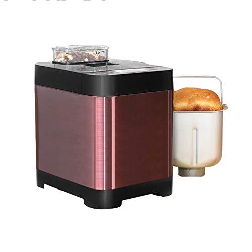 ZTGL Panificadora y Amasadora Automática, Máquina para Hacer Pan Multifuncional de Acero Inoxidable con Dispensador de Nueces, 18 Configuraciones, Rojo