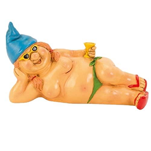 ZYFWBDZ Estatua de gnomo de jardín, Divertida Estatua de Pareja de gnomos Desnudos, Resina Impermeable, decoración de Arte de Duendes para Adornos de césped, jardín Interior o Exterior,C