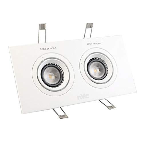 WRMOP lamp met dubbele kop, vierkant, ultradun, verlicht, voor keuken, badkamer, hal, plafond, frame, wit, licht R/19/12/28