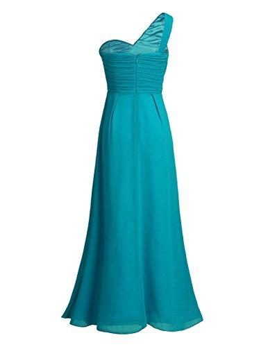 Freebily Vestido Largo de Gasa para Mujer Dama de Honor Vestido de Cóctel Fiesta Ceremonia Noche Verde Azulado 34