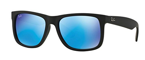 Ray-Ban Justin RB4165 Classic Sunglasses (54 mm Matte Black Frame w/Blue Mirror Lens)