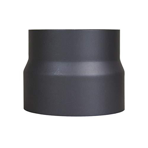 LANZZAS Rauchrohr Ofenrohr Reduzierung Ø 160 mm auf Ø 150 mm schwarz Kaminofen Rohr Ofenrohrreduzierung Reduktion