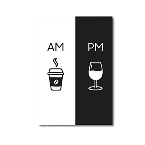 Impresión en lienzo Imagen de arte de pared abstracto moderno Am Coffee PM Cartel de vino Carteles e impresiones Cocina Restaurante Estilo nórdico Pintura en lienzo Decoración 60x80cm Sin marco