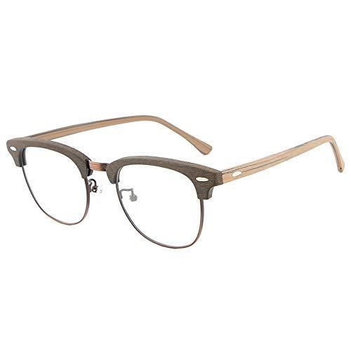 YEESEU Gafas de Sol de Madera del Grano de la Vendimia vidrios Llanos Hecho a Mano capítulo de la Placa del Marco de la miopía de los vidrios Grandes Gafas for Hombres y Mujeres Gafas de Moda (Color: