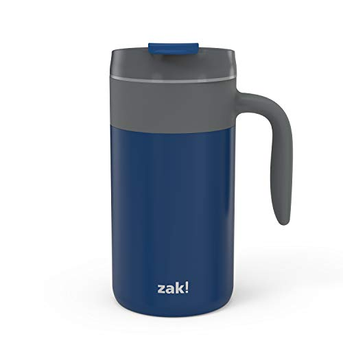 Zak Designs Aberdeen Stainless Steel Double Wall Vacuum Insulated Mug with Handle and Leak Proof Flip Top, Ergonomic Handle Coffee Mug with Screw on Lid is Easy to Clean (20oz, Indigo, 18/8, BPA Free)
