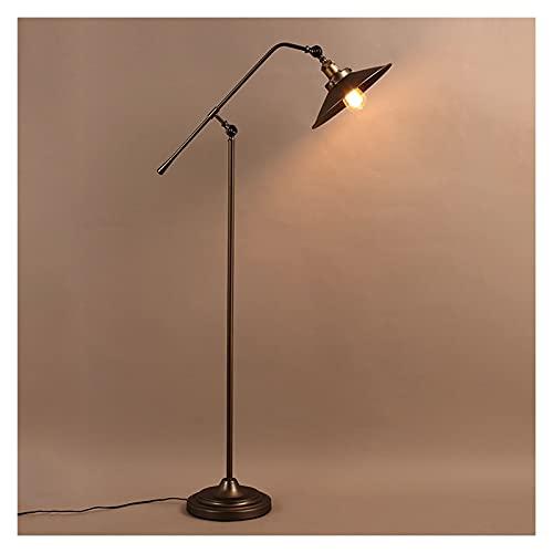 Lámpara de pie Lámpara de pie industrial para salones y dormitorios - Lámpara de lectura rústica de la casa de campo - de pie, brazo ajustable Lámpara de polo interior para artesanías y tareas Lámpara