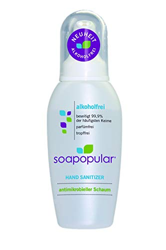 Soapopular Handdesinfektion ohne Alkohol 250ml - Foam - perfekt für unterwegs - Parfümfrei * Tropffrei * Nicht brand- und feuergefährlich