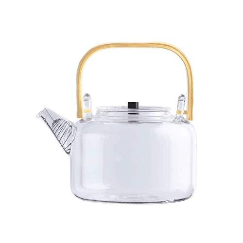 Glaskessel, Teemaschine, Spiralfilter, Hochtemperatur-Wärmebeständigkeit, Kohlenstoffgebackener Bambusgriff B.