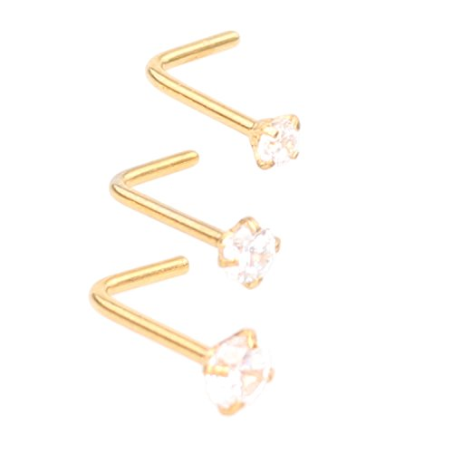Zifoan 3 Pcs Stainless Steel Nose Rings Studs 20 Gauge L Shaped Curved Nose Piercing Jewelry 2mm 2.5mm 3mm Diamond CZ Nose Stud L Bend for Women Girl Piercing - Gold